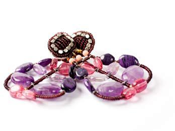 Pink and purple Ziio earrings made with amethysts