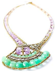 Lotus necklace by Ziio is handmade in Italy with amethusts and chrysoprase