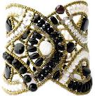 High-fashion Ziio bracelet made with pearls, black tourmaline and sterling silver.