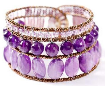 Ziio bracelets handmade in Italy with amethysts and sterling silver.