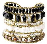 Black and white Ziio bracelet is a a handmade artisan bracelet with pearls, black tourmaline and sterling silver.