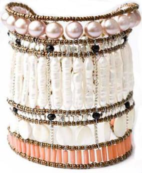 High-fashion Ziio bracelet made with pearls, mother-of-pearl, black tourmaline and coral