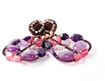 Chandelier Ziio earrings handmade with semi-precious stones in pink and purple