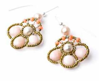 Pink opal and coral earrings by Ziio