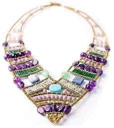 Italian statement necklace by Ziio is handmade in Italy with amethust and turquoise
